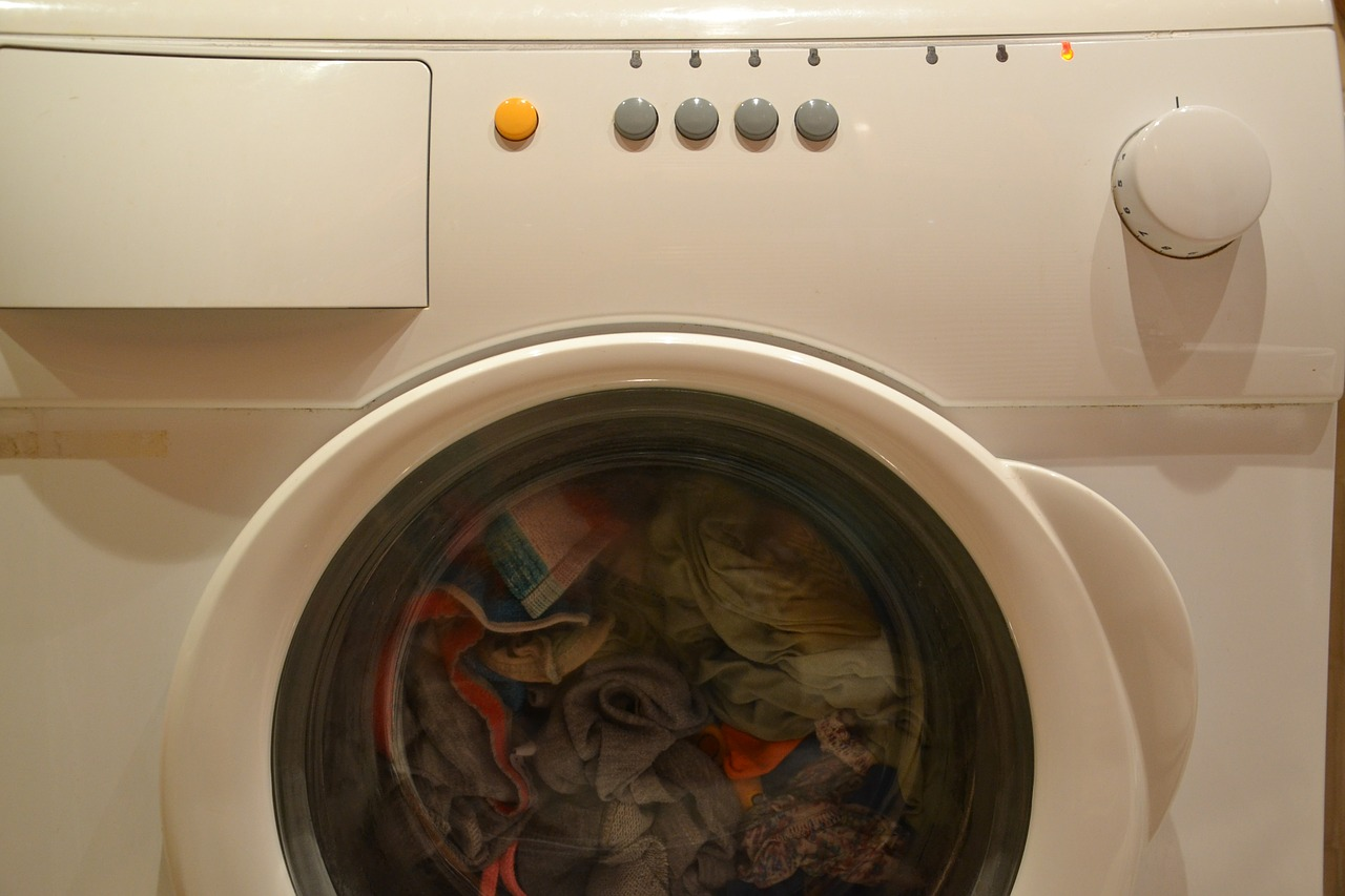 A washing machine full of clothes