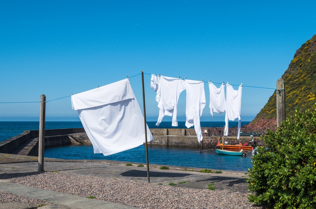 White clothes hanging on a washing line