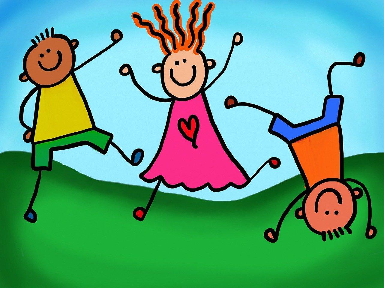 Cartoon of happy kids