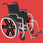 An illustration of a wheelchair