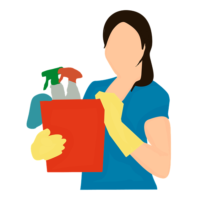 Illustration of a woman with cleaning products