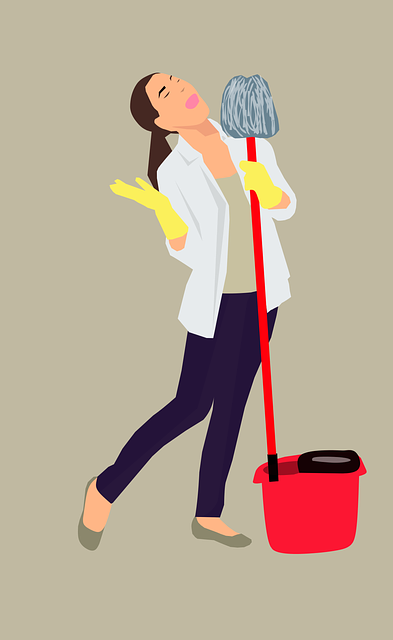 Illustration of a woman with a mop